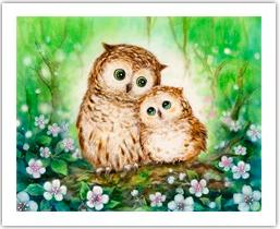 Puzzle Pintoo 500 parts of Kiomi. Forest owls -- Kayomi - Owls In Green Forest H-1685