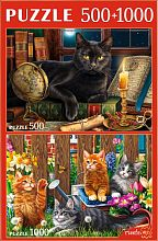 Puzzle Red Cat 500#1000 details: In the world of cats