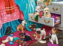 Puzzle Castorland 300 details: the Puppies in the bedroom