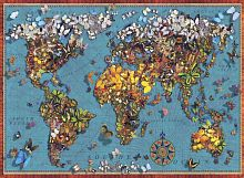 Anatolian jigsaw puzzle 1000 pieces: world Map of butterflies