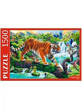 Puzzle Red Cat 1500 pieces: Tiger on a tree