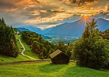 Schmidt 1500-piece puzzle: Sunset in a mountain village