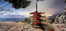 Puzzle panorama Educa 3000 pieces: Mount Fuji and pagoda Curato