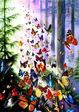 Anatolian jigsaw puzzle 1000 pieces: Butterflies in the forest