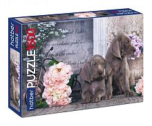 Puzzle Hatber 1500 parts: Puppies in flowers