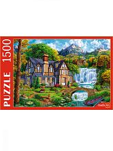 Puzzle Red Cat 1500 parts: House at the big waterfall