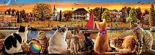 The Educa puzzle panorama 1000 pieces: Cats on the waterfront