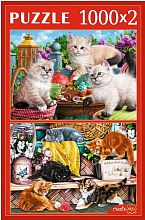 Puzzle Red Cat 2x1000 parts: Fluffy kittens