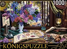 Konigspuzzle 1000 Pieces Puzzle: Still Life with lilac and drawings