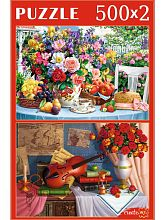Puzzle Red Cat 2x500 pieces: Floral still lifes 2in1
