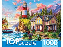 TOP Puzzle 1000 pieces: Lighthouse and house by the sea