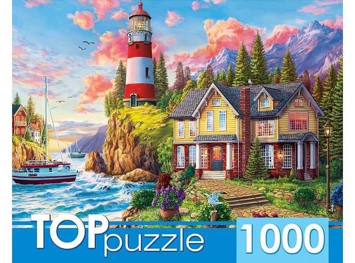 TOP Puzzle 1000 pieces: Lighthouse and house by the sea ХТП1000-2164
