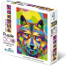 Origami picture puzzle 500 pieces: Art therapy. Pop art. Wolf