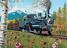 Cobble Hill puzzle 1000 pieces: the Locomotive with the forest