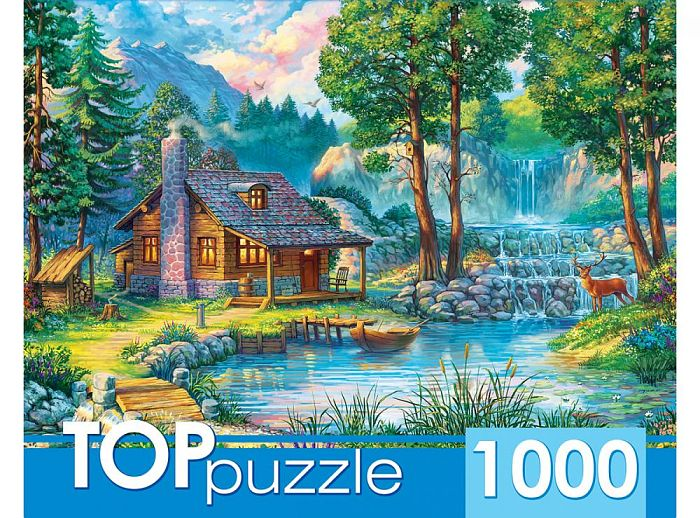 TOP Puzzle 1000 pieces: House by the forest pond ХТП1000-2166