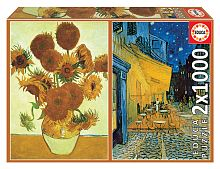 Educa puzzle 2x1000 parts: Sunflowers + Evening coffee terrace, V. van Gogh
