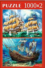 Puzzle Red Cat 2x1000 pieces: Vintage ships
