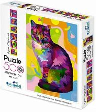 Origami picture puzzle 500 pieces: Art therapy. Pop art. Cat