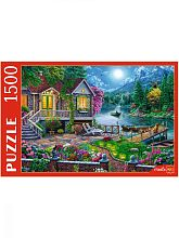 Puzzle Red Cat 1500 parts: House by the moon lake