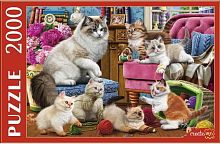 Puzzle Red Cat 2000 parts: A cat with fluffy kittens