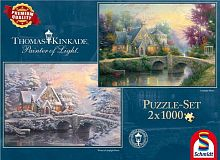 Schmidt jigsaw puzzle 2x1000 details: T. Kincaid Estate during the summer/winter
