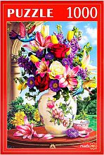 Puzzle Red Cat 1000 pieces: Summer bouquet and hummingbird