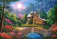 Puzzle Castorland 1000 pieces: Cottage in the moonlight garden