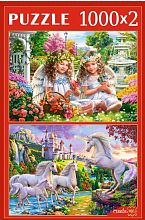 Puzzle Red Cat 2x1000 parts: Fantasy world