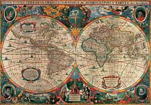 Puzzle Pomegranate 1000 items: H. Hondius Antique map of the world