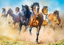 Trefl puzzle 2000 details: Statuses a herd of horses