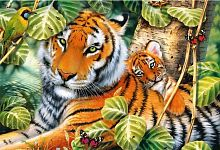 Trefl puzzle 1500 pieces: Two tigers